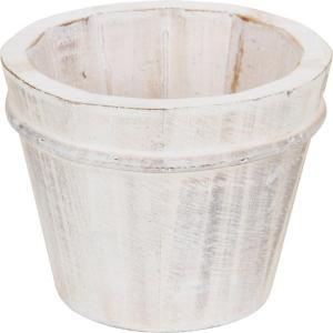 木製ガーデンポット ラウンド プランターカバー 鉢カバー ホワイト ウッド|hypnos
