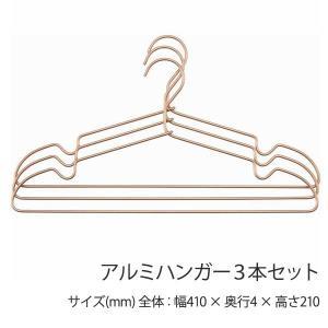 ハンガー アルミハンガー 3本セット ブラウン シンプル おしゃれ|hypnos