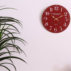掛け時計 ウォールクロック 掛け時計 時計 クロック レトロ レッド おしゃれな インテリア 壁掛け時計|hypnos