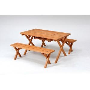 BBQテーブル&ベンチセット コンロ ガーデンテーブル バルコニー バーベキュー ウッドテーブル ベンチ|hypnos