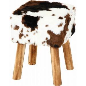 スツール 椅子 イス シンプル オットマン フェイクファースツールスクエア カウ ブラウン 牛柄 モフモフ おしゃれ オットマン hypnos