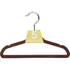 キッズ ハンガー ブラウン 滑らないハンガー 子供用すべらないハンガー 5個セット 衣類が滑りにくいハンガー|hypnos