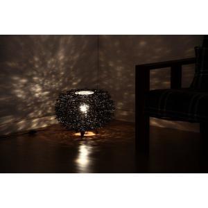 ランプ フロアランプ 照明 ラタンラウンドランプM ブラック|hypnos