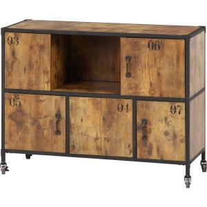 クルト サイドボード 木製棚  収納 棚 キャビネット アンティーク風 キャスター付き|hypnos