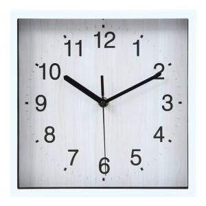 壁掛け時計 掛時計 24cm ウォールクロック デザインウォールクロック おしゃれ時計 掛け時計 時計 とけい クロック シンプル 四角 ホワイト 白|hypnos