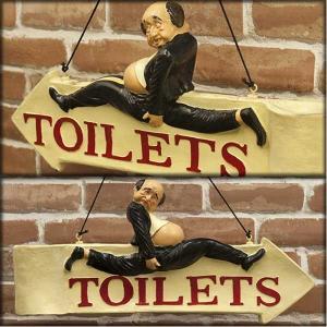 業務看板 トイレ サインプラッケ 店舗用 壁掛け 両面 案内プレート  Sign Plaque TOILET トイレットサインプラッケ|hypnos