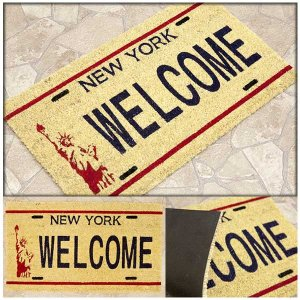 玄関マット 屋外 コイヤーマット ココナツ ナンバープレート ニューヨーク ウェルカム New York WELCOME【代引き不可】|hypnos
