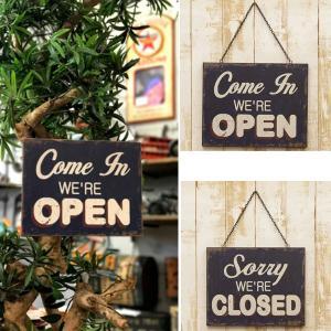 業務看板 welcome オープン クローズ アンティーク 店舗用 壁掛け 両面 プレート 屋外 おしゃれ アンティーク調|hypnos