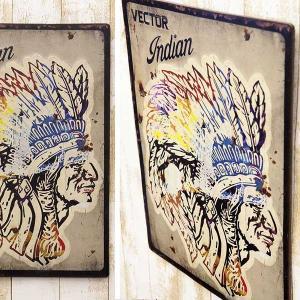 業務看板 レトロ調 レクトエンボスプレート Indian インディアン Native American ネイティヴ・アメリカン  アンティーク 店舗用 壁掛け プレート|hypnos