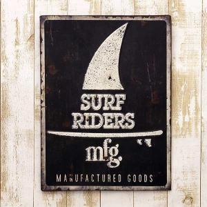 業務看板 レトロ調 レクトエンボスプレート Surf Riders サーフ  アンティーク 店舗用 壁掛け プレート|hypnos