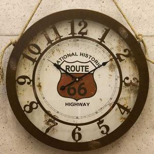 時計 壁掛け時計 壁掛時計 ウォールクロック  デザイン アンティーク レトロ調 アンティーク エンボスクロック ルート66 グランド|hypnos