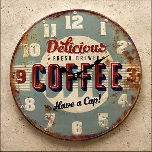 壁掛け時計 壁掛時計 ウォールクロック クロック デザイン レトロ調 Coffee アンティーク エンボスクロック コーヒー カフェ|hypnos