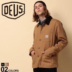 Deus Ex Machinaのフルボタン シャツジャケット。襟と左胸ポケットのロゴがポイント。表地...
