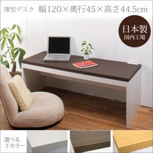 パソコンデスク ロータイプ 日本製 薄型 奥行45cm 幅120cm 約高さ45cm PCデスク ローデスク 座椅子用 ワークデスク 平机 ホワイト ダークブラウン ナチュラル i-11myroom