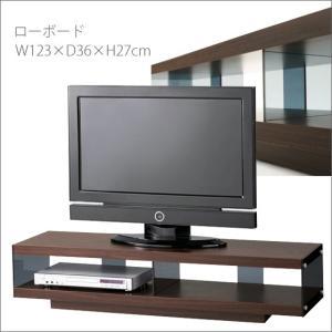クールデザインンおしゃれテレビボード 木板ガラス製 背の低いテレビ台インテリア モデルハウスショールーム 約幅120cm上品でカッコイイローボード|i-11myroom