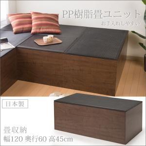 畳 ユニット ベンチ 収納 ボックス 日本製 たたみ タタミ 箱 PP樹脂製 ハイタイプ 高床 ブラック 黒 ダークブラウン 幅120cm 高さ45cm|i-11myroom