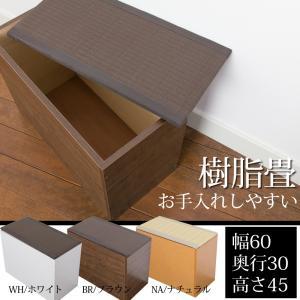 畳 ユニット ベンチ 収納 ボックス 日本製 たたみ タタミ 箱 PP樹脂製 幅60 奥行30 高さ45cm ナチュラル ブラウン 小上がり リビング 和室 和風 アジアン|i-11myroom
