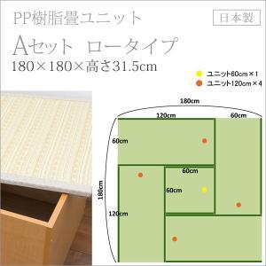 畳収納 ユニット ベンチ ボックス 日本製 たたみ タタミ 箱 PP樹脂製 ロータイプ Aセット ナチュラル 幅120cm 幅60cm 約 高さ32cmのセット|i-11myroom