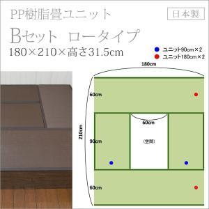 畳 ユニット ベンチ 収納 ボックス 日本製 たたみ タタミ 箱 PP樹脂製 ロータイプ Bセット ブラウン 掘りごたつ風 幅180cm 幅90cm 約 高さ32cmのセット i-11myroom