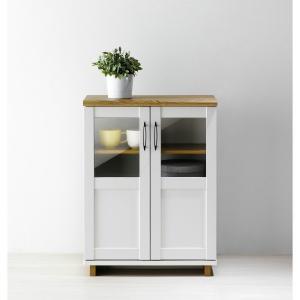 ローキャビネット 木製 扉収納 リビング収納 キッチン収納ナチュラル×ホワイト白ツートン(約)幅60奥行30高さ80cm フレンチシャビー アメリカンデザインの写真