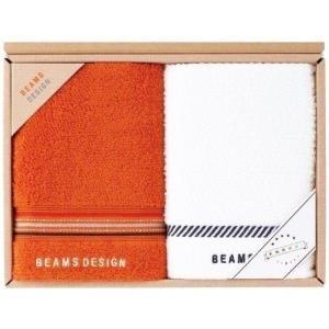 ビームス デザイン フェイスタオル2枚セット 51-3029200 ネイビーブルー オレンジ|i-chie