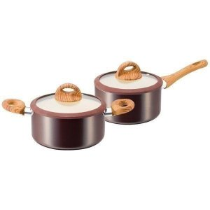 ククナキッチン 木目調セラミックアルミ片手鍋18cm&両手鍋20cm KKN-WA02S|i-chie