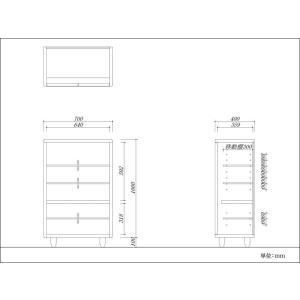 キャビネット おしゃれ 北欧 収納 リビング 木製 無垢材 杉 ナチュラル ガラス 日本製 ワッフル 70 i-company 03