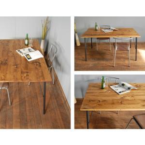 ダイニングテーブル 4人 鉄脚 アイアン 古材風 ヴィンテージ風 西海岸風 無垢材 140 国産 サイズオーダー GRテーブル|i-company|04