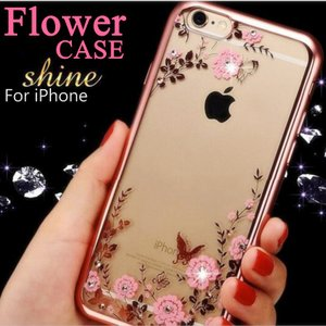 スマホケース ソフトシリコン iPhone6s iPhone SE iPhone6Plus 花柄 キラキラ輝く ダイヤ クリア カバー 可愛い|i-concept