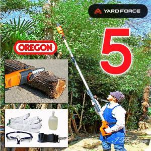 コンパクト組立式 高枝切り電動チェーンソー5 ヤードフォース オレゴン刃 YARD FORCE OREGON 電源20mコード式 オイル ゴーグル 手袋セット i-healing