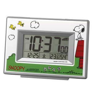 スヌーピーR187 デジタル電波めざまし時計 ホワイト 8R...