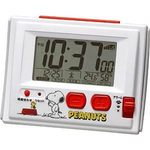 スヌーピーR126 白 8RZ126RH03 電波デジタル温度計 湿度計付 目覚まし時計 i-healing