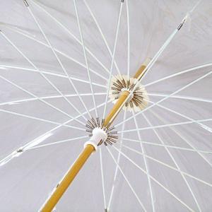 雨傘 十六夜 いざよい ビニール傘 ベージュ婦人傘 ホワイトローズ社 長傘16本骨傘 日本製|i-healing|02