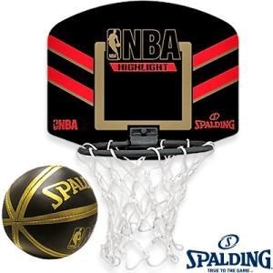 壁掛け室内用ミニバスケットゴール NBAロゴ ハイライト ミニビニールボールセット スポルディング77-635Z|i-healing