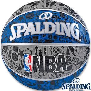 外用バスケットボール7号 SPALDINGグラフィティブルー ラバー スポルディング83-176Z|i-healing