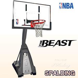 NBA公認バスケットゴール バックボード スポルディング ザ ビースト 強化ガラス THE BEAST 屋外用 バスケ練習 お客さま組立 SPALDING 74560JP|i-healing