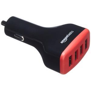 USB 4ポート  48W 車載充電器はシガーソケットに接続し、一度に4台までの充電可。携帯電話、タ...