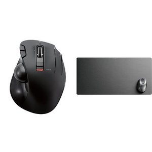 エレコム ワイヤレスマウス トラックボール 6ボタン + 超大判マウスパッド デスクマット