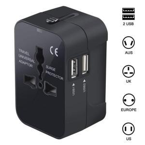 DETUOSI変換プラグ 海外旅行充電器 2USBポートコンセント マルチ電源プラグ 180ケ以上の...