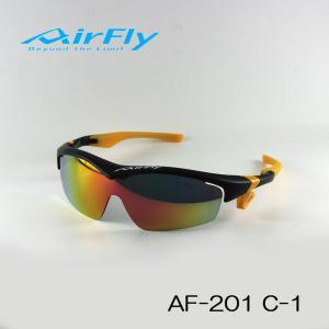 AirFly ( エアフライ ) スポーツ サングラス AF-201 c-1 ブラックマット / パープルゴールドミラー|i-look