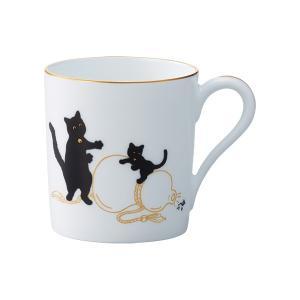 大倉陶園 黒猫親子-縁起物語-II マグ「瓢箪から駒」|i-matsumoto