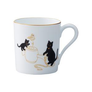 大倉陶園 黒猫親子-縁起物語-II マグ「打ち出の小槌」|i-matsumoto