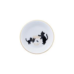 大倉陶園 黒猫親子-縁起物語- II 豆皿「金魚」|i-matsumoto