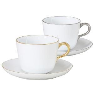 大倉陶園 食器 金白金 ペアモーニングカップ&ソーサー(無地)|i-matsumoto
