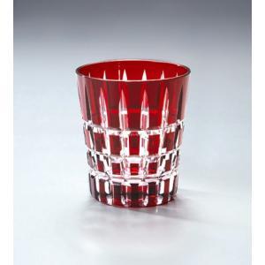 切子ガラス ロックグラス クロスストライプ レッド|i-matsumoto