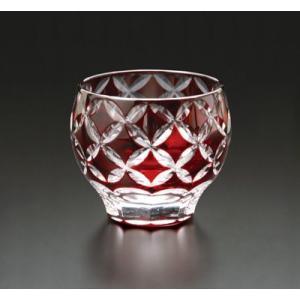 切子ガラス 酒カップ ダイヤリング レッド|i-matsumoto