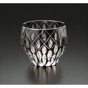 切子ガラス 酒カップ ダイヤクロス ブラック|i-matsumoto