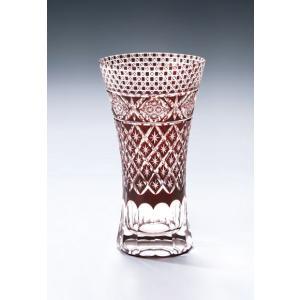 切子ガラス ロングビアグラス メテオAレッド|i-matsumoto