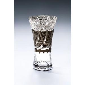 切子ガラス ロングビアグラス フェザーAブラック|i-matsumoto