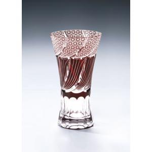 切子ガラス ロングビアグラス フェザーAレッド i-matsumoto